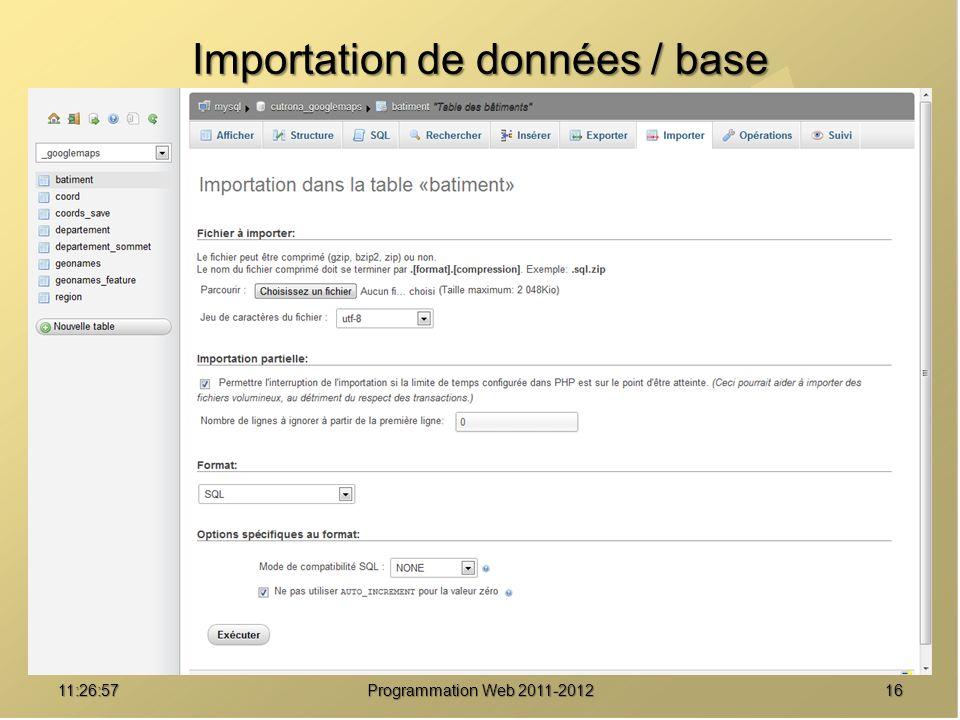 Importation de données / base