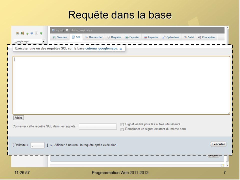 Requête dans la base 01:08:02 Programmation Web 2011-2012