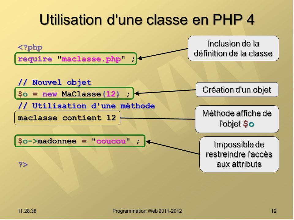Utilisation d une classe en PHP 4