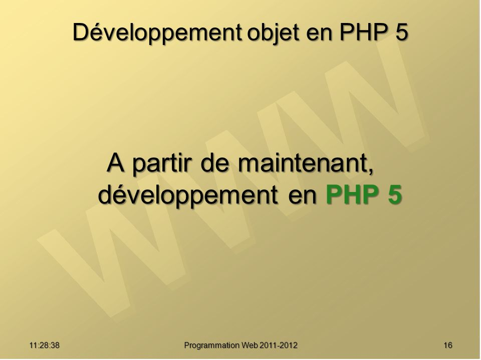 Développement objet en PHP 5