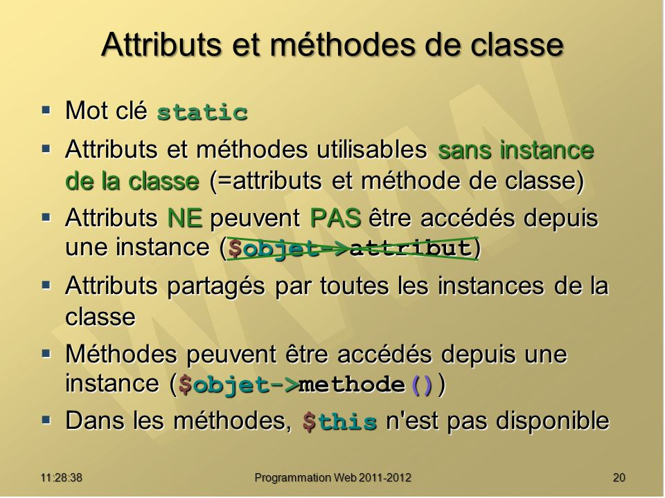 Attributs et méthodes de classe