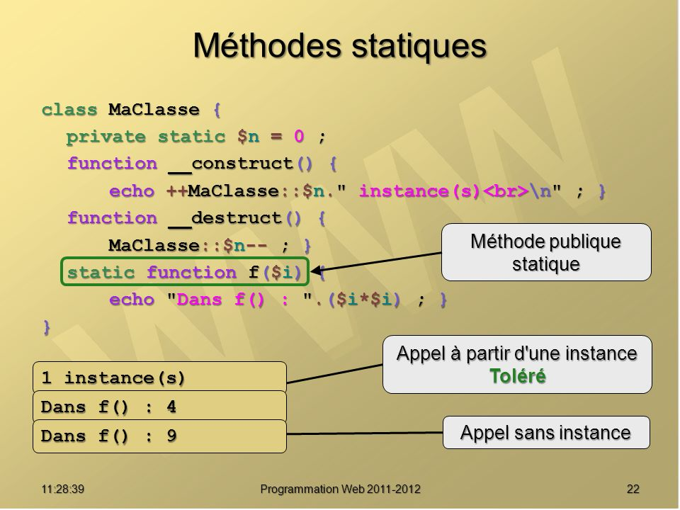 Méthodes statiques class MaClasse { private static $n = 0 ;