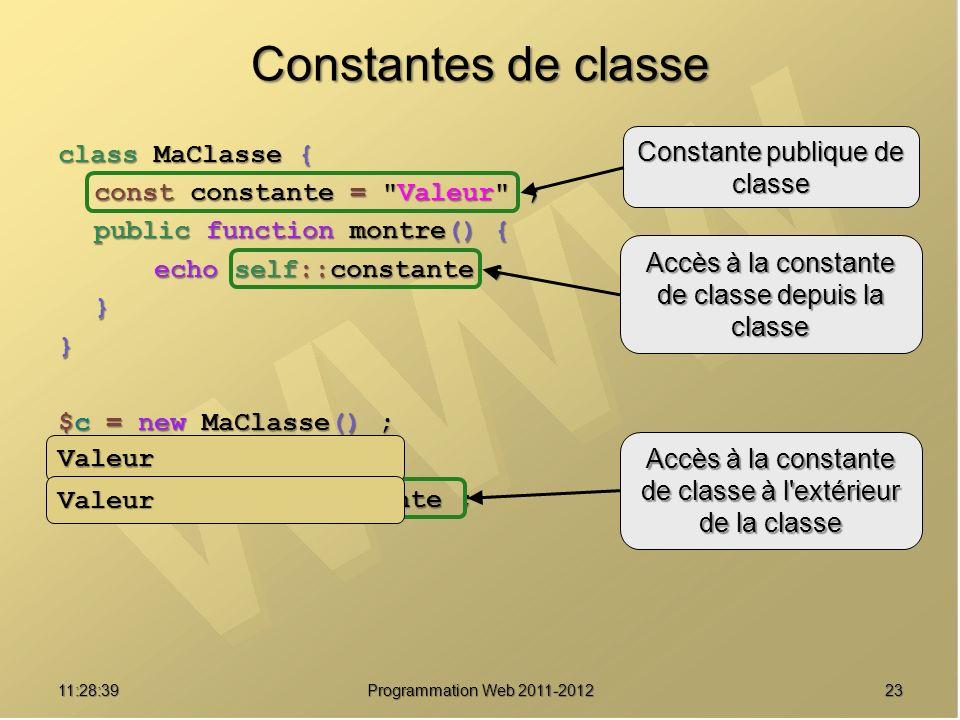 Constantes de classe Constante publique de classe class MaClasse {