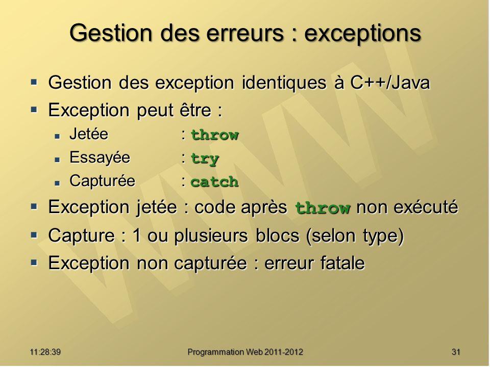 Gestion des erreurs : exceptions