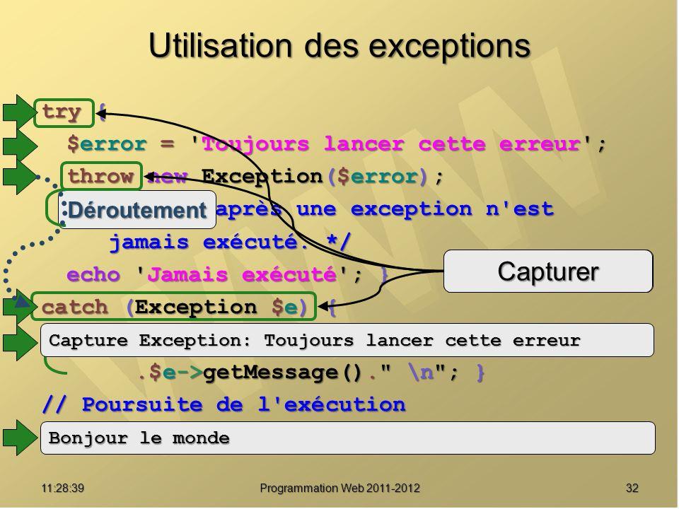 Utilisation des exceptions