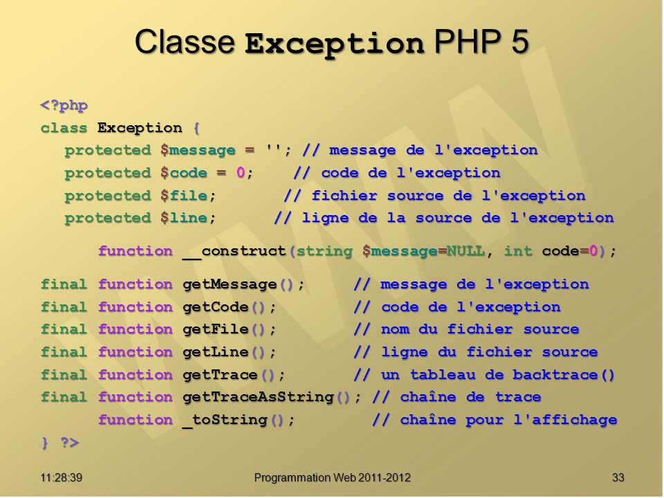 Classe Exception PHP 5 < php class Exception {