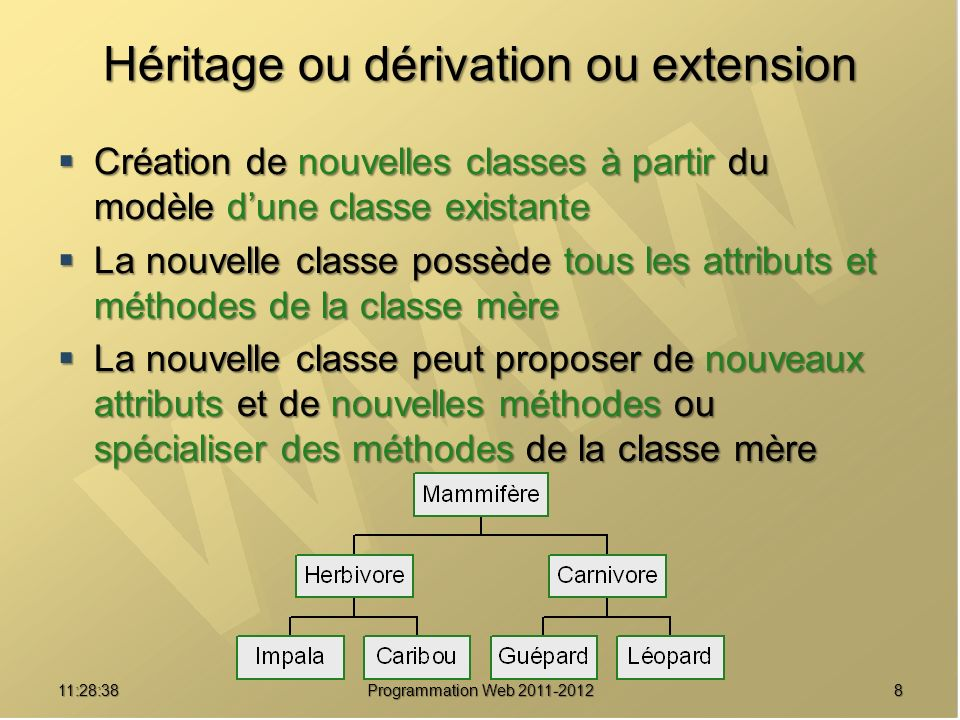 Héritage ou dérivation ou extension