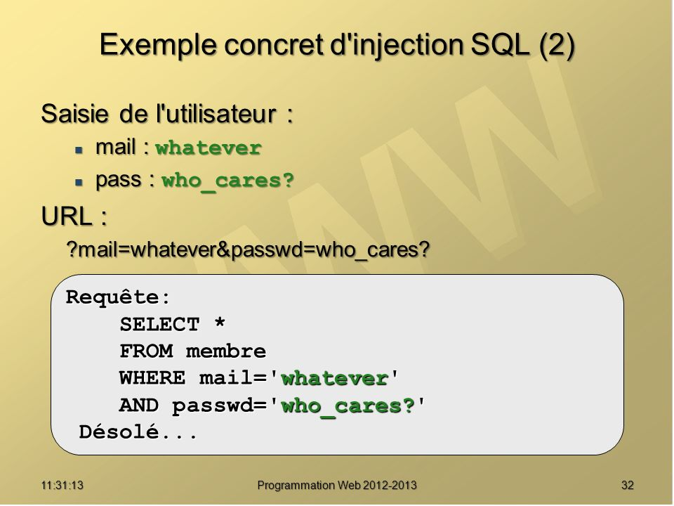 Exemple concret d injection SQL (2)