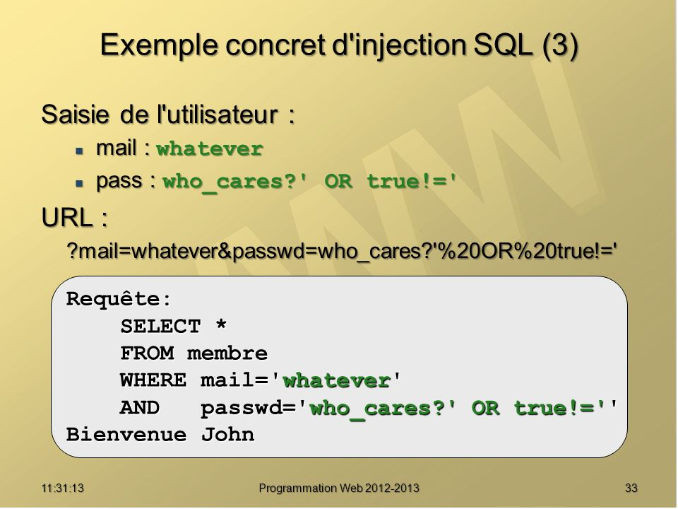 Exemple concret d injection SQL (3)