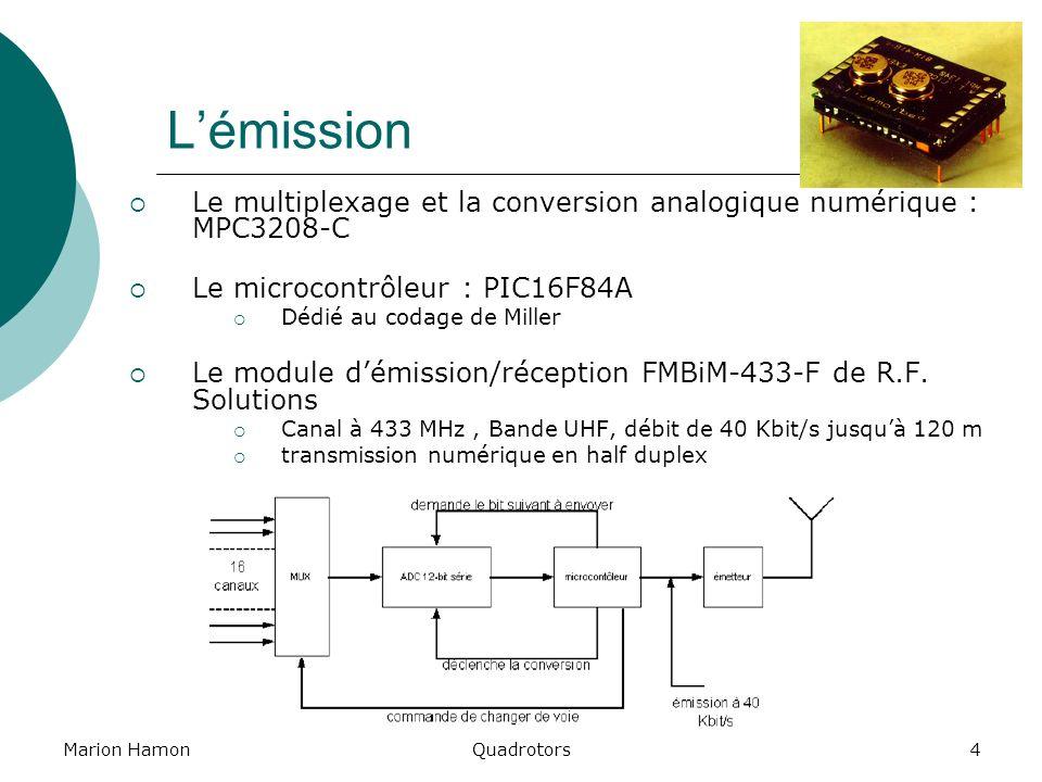 L'émissionLe multiplexage et la conversion analogique numérique : MPC3208-C. Le microcontrôleur : PIC16F84A.