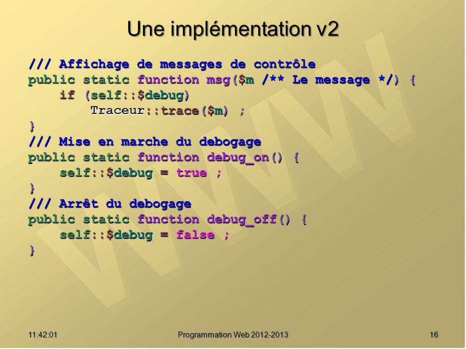 Une implémentation v2 /// Affichage de messages de contrôle