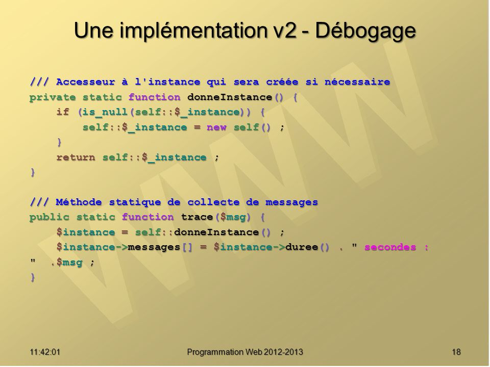Une implémentation v2 - Débogage