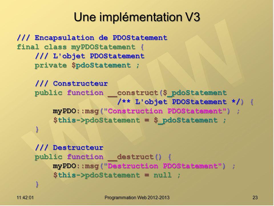 Une implémentation V3 /// Encapsulation de PDOStatement