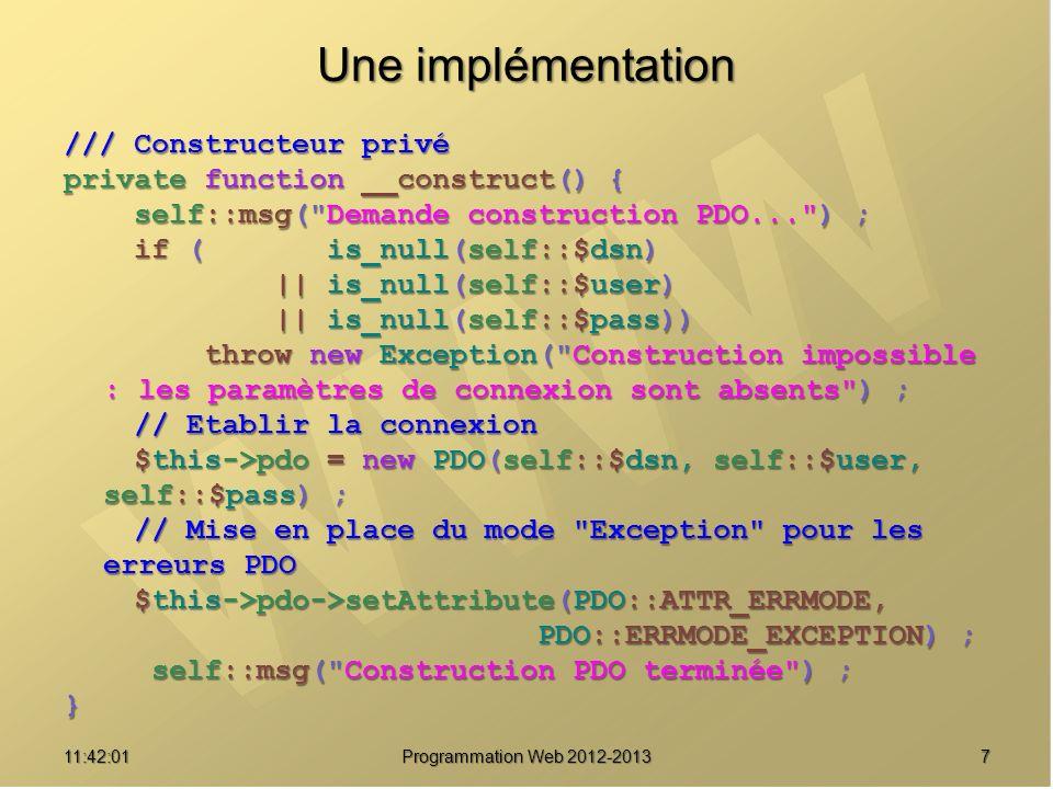 Une implémentation /// Constructeur privé