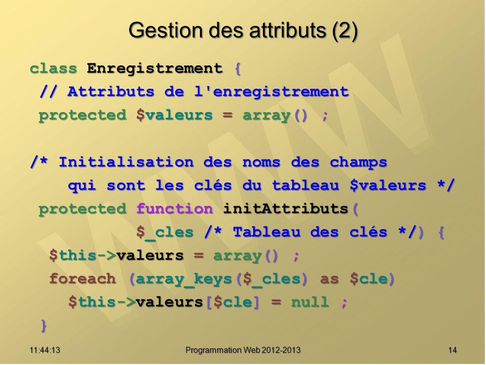 Gestion des attributs (2)