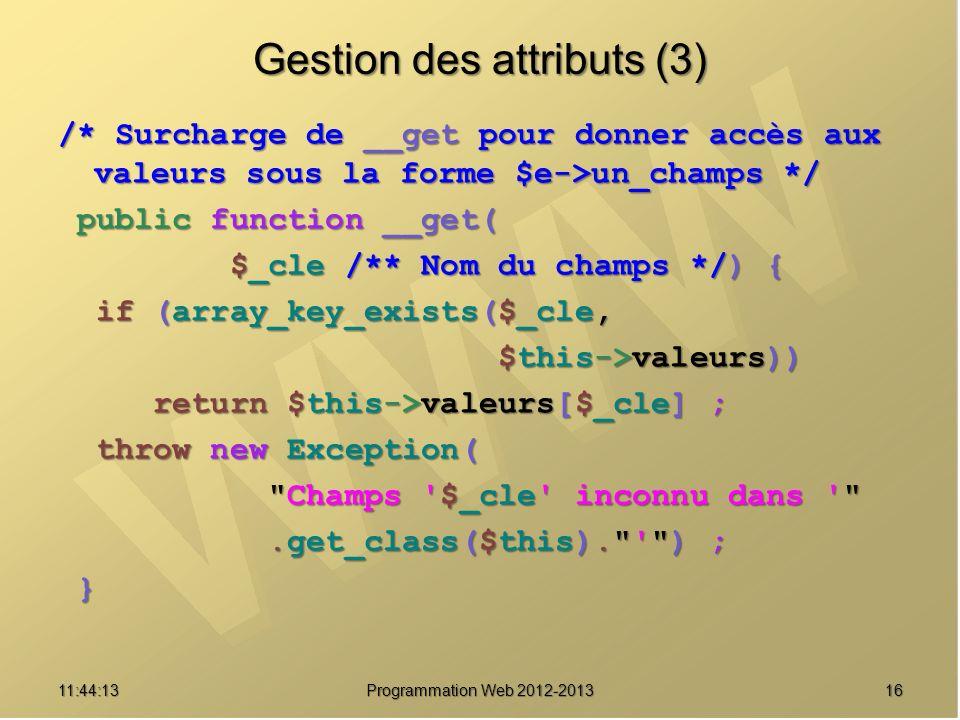 Gestion des attributs (3)