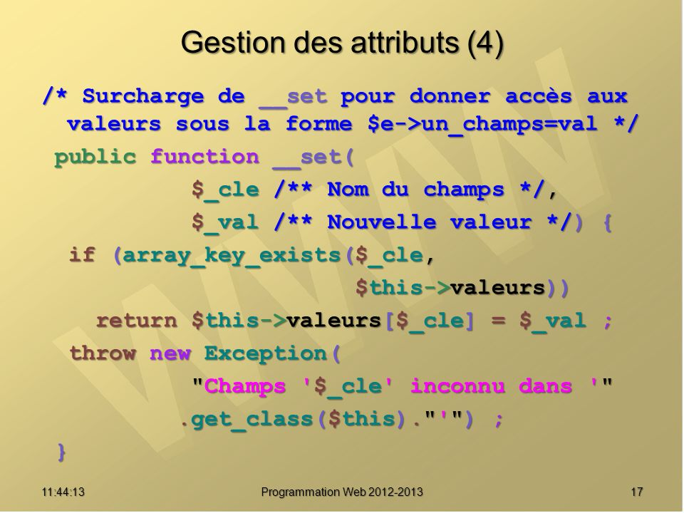 Gestion des attributs (4)