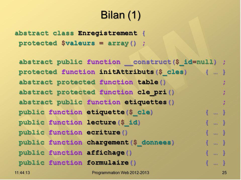 Bilan (1) abstract class Enregistrement {