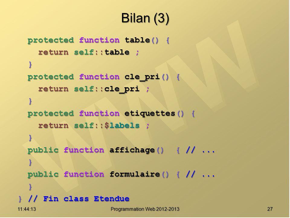 Bilan (3) protected function table() { return self::table ; }