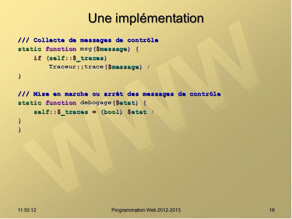 Une implémentation /// Collecte de messages de contrôle