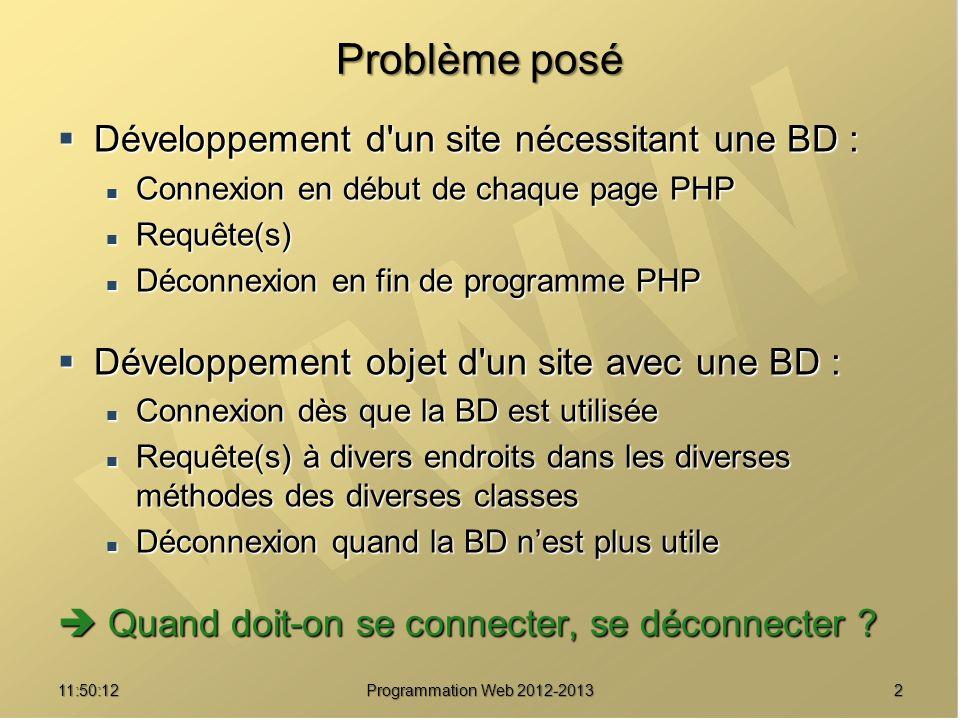 Problème posé Développement d un site nécessitant une BD :