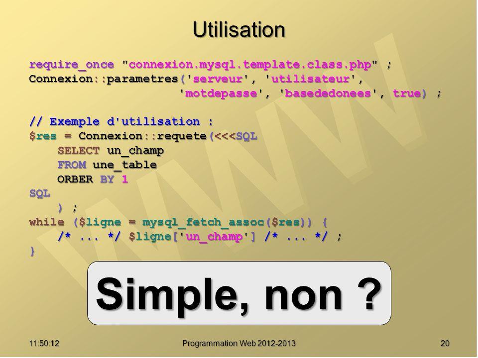 Simple, non Utilisation