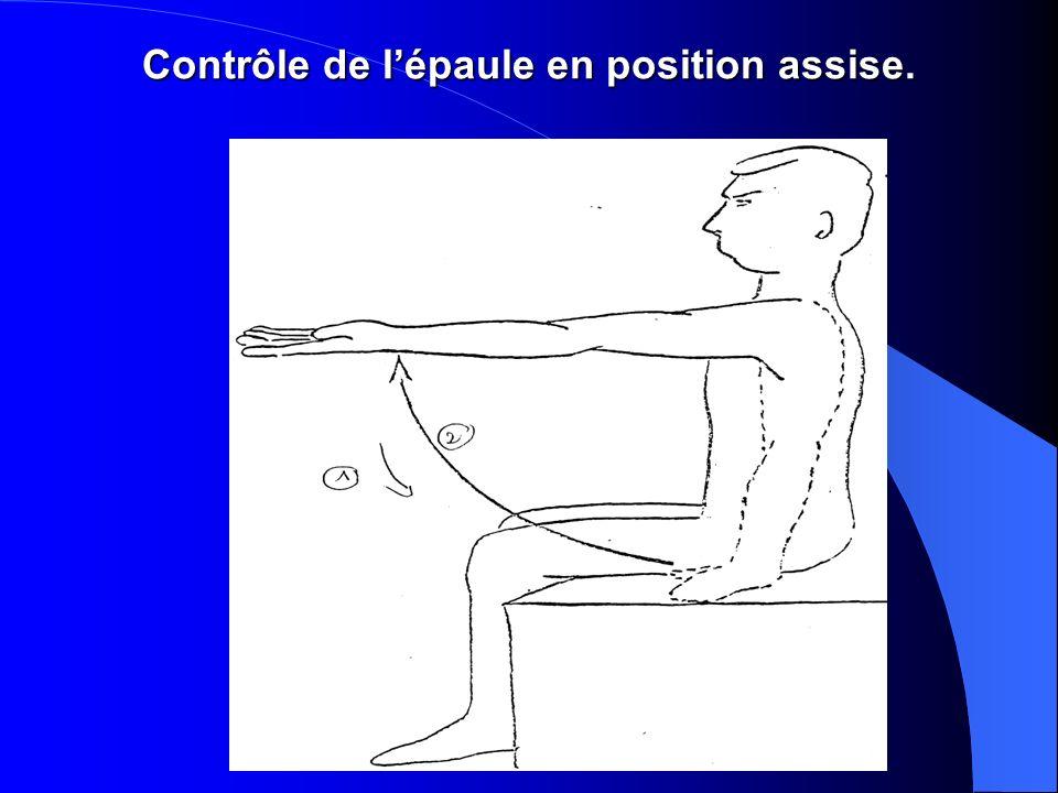 Contrôle de l'épaule en position assise.
