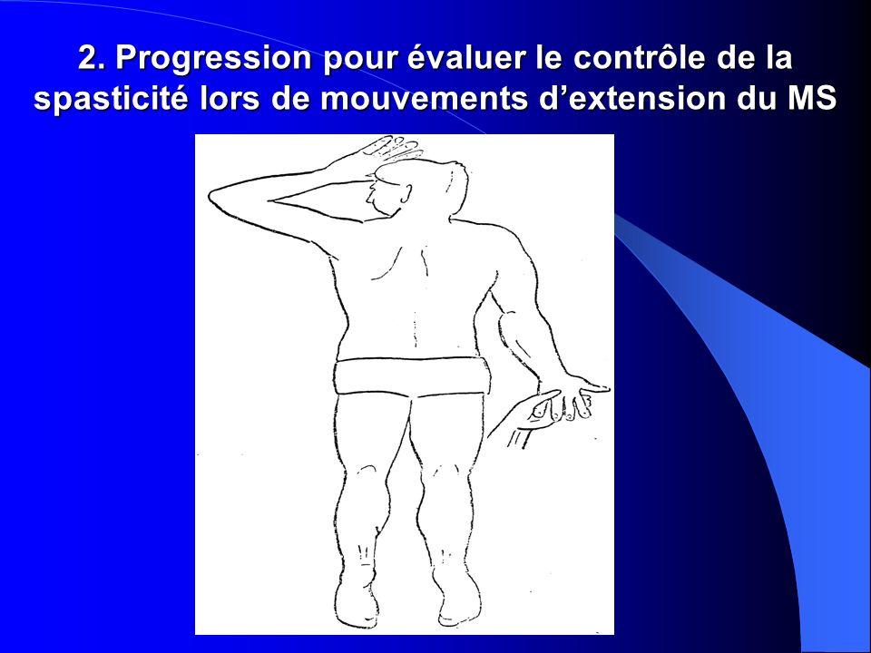 2. Progression pour évaluer le contrôle de la spasticité lors de mouvements d'extension du MS