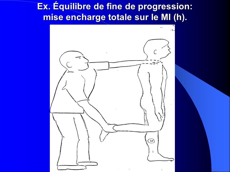 Ex. Équilibre de fine de progression: mise encharge totale sur le MI (h).