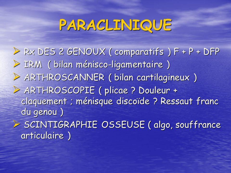 PARACLINIQUE Rx DES 2 GENOUX ( comparatifs ) F + P + DFP