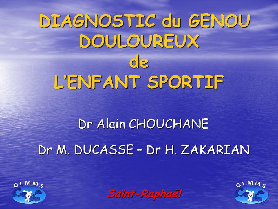 DIAGNOSTIC du GENOU DOULOUREUX de L'ENFANT SPORTIF