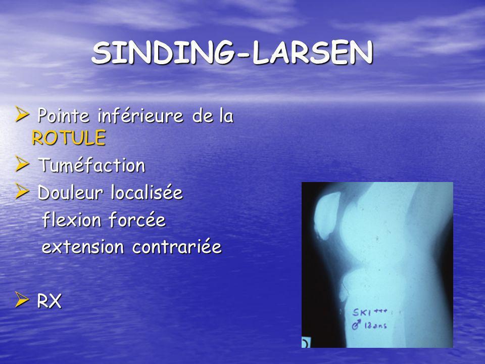 SINDING-LARSEN Pointe inférieure de la ROTULE Tuméfaction
