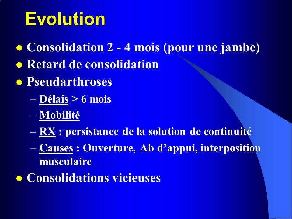 Evolution Consolidation mois (pour une jambe)