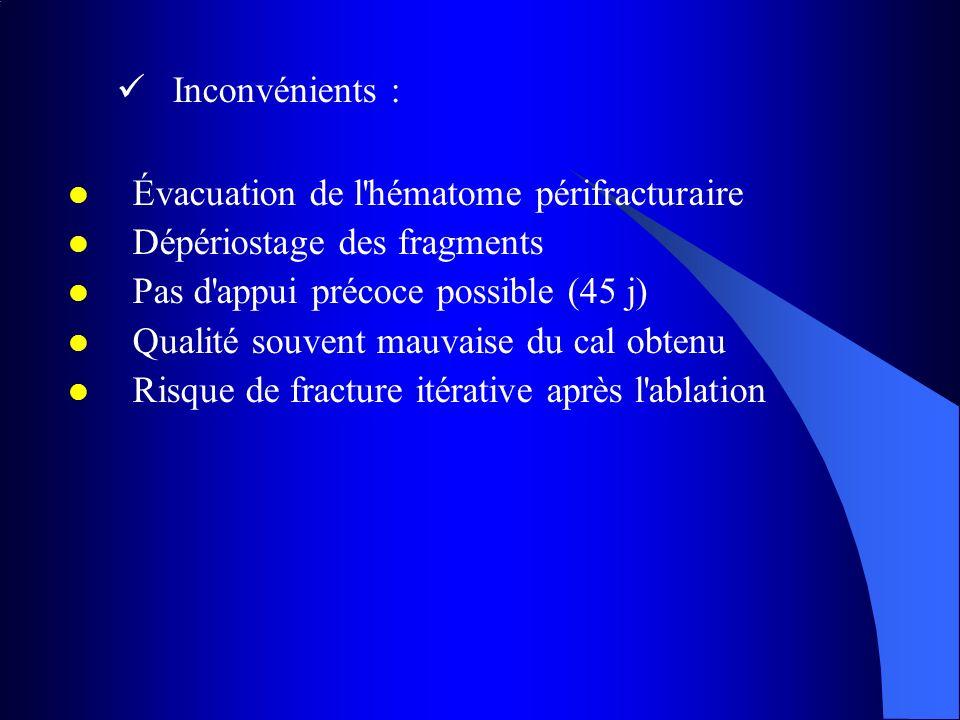 Inconvénients : Évacuation de l hématome périfracturaire. Dépériostage des fragments. Pas d appui précoce possible (45 j)