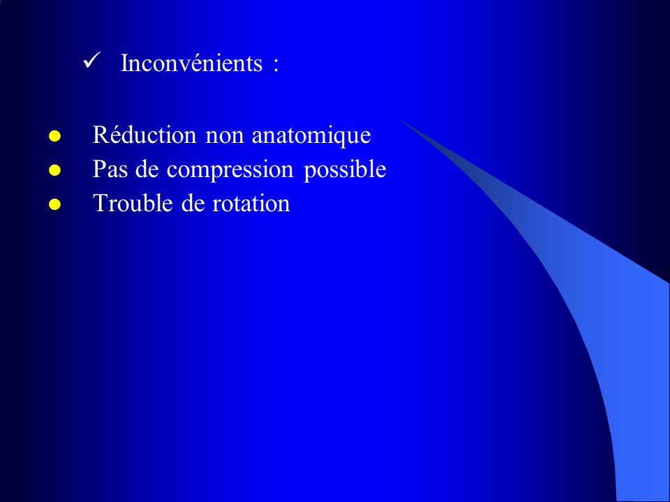 Inconvénients : Réduction non anatomique Pas de compression possible Trouble de rotation