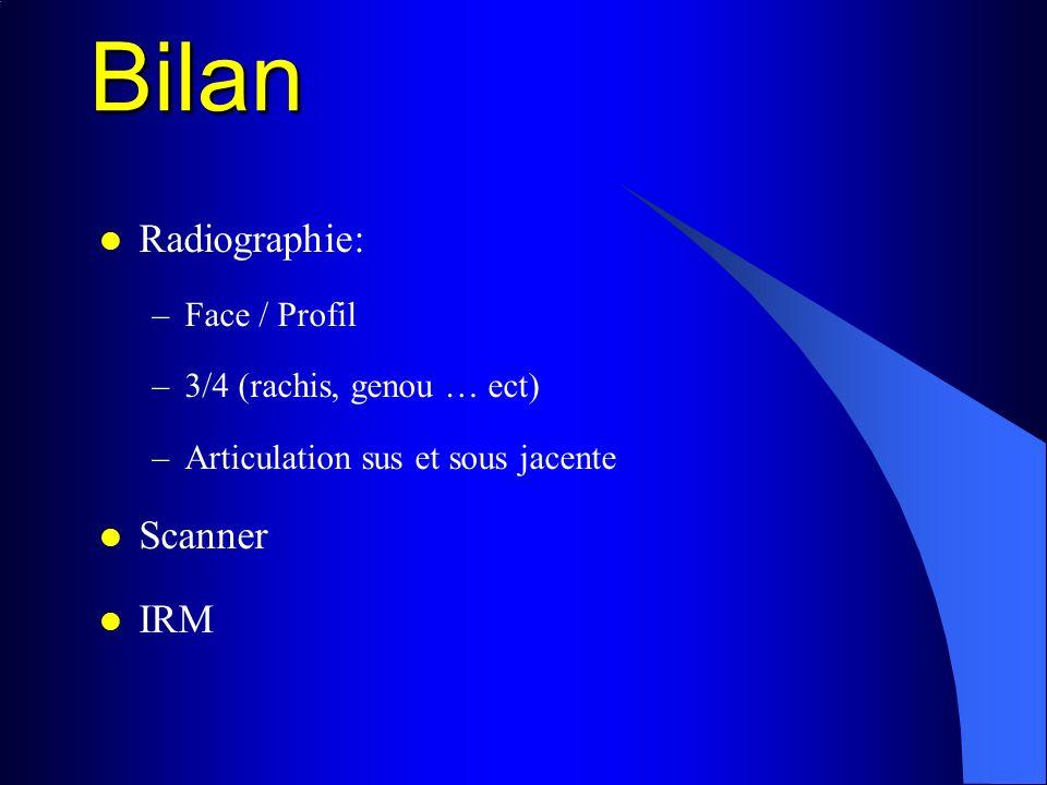 Bilan Radiographie: Scanner IRM Face / Profil