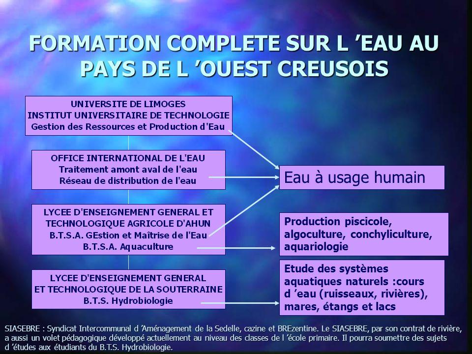 FORMATION COMPLETE SUR L 'EAU AU PAYS DE L 'OUEST CREUSOIS