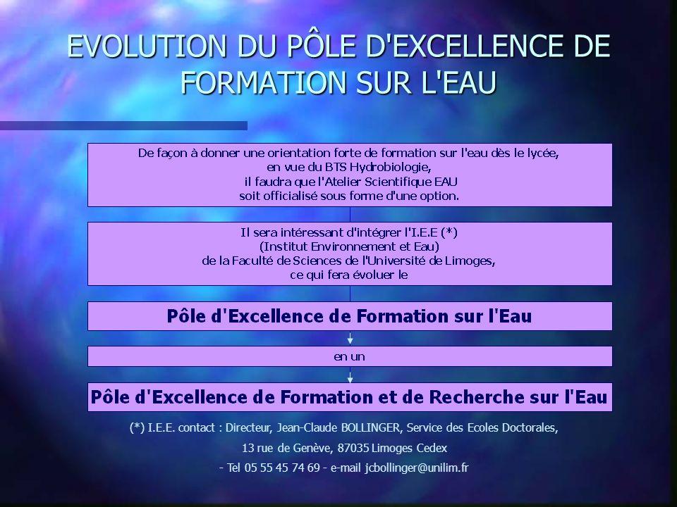 EVOLUTION DU PÔLE D EXCELLENCE DE FORMATION SUR L EAU