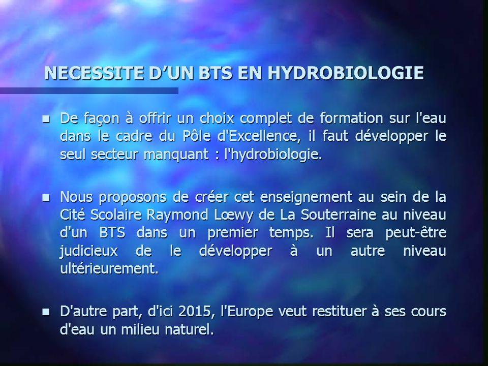 NECESSITE D'UN BTS EN HYDROBIOLOGIE