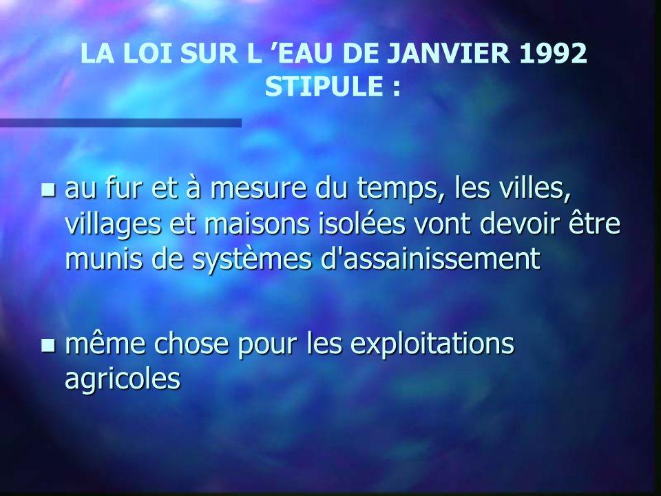 LA LOI SUR L 'EAU DE JANVIER 1992 STIPULE :