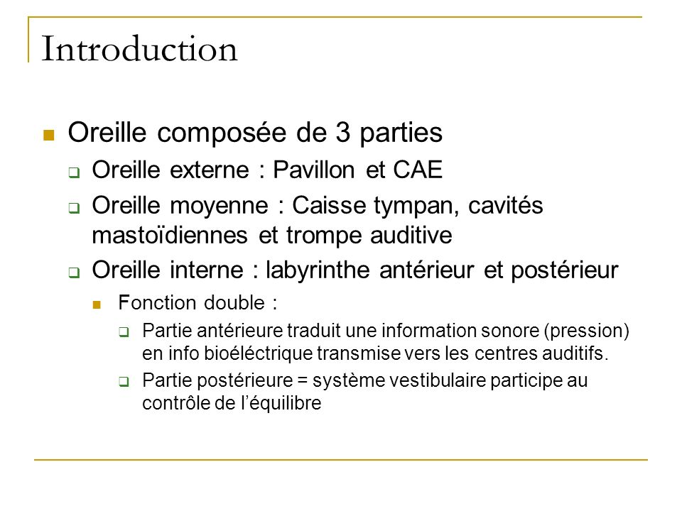 Introduction Oreille composée de 3 parties