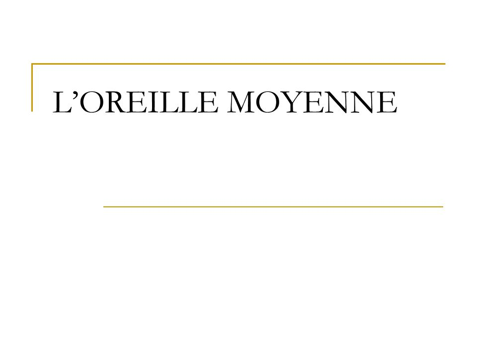 L'OREILLE MOYENNE