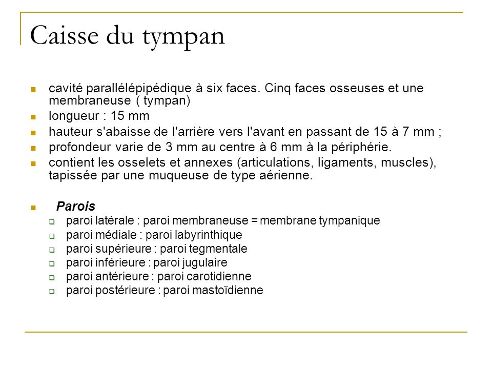 Caisse du tympan cavité parallélépipédique à six faces. Cinq faces osseuses et une membraneuse ( tympan)