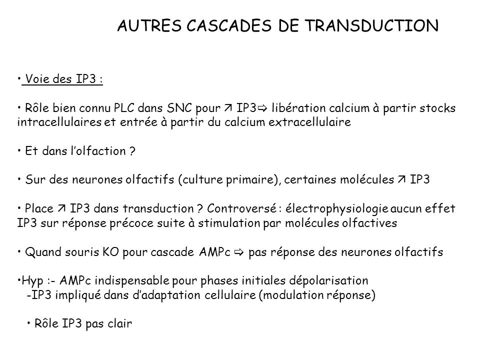 AUTRES CASCADES DE TRANSDUCTION