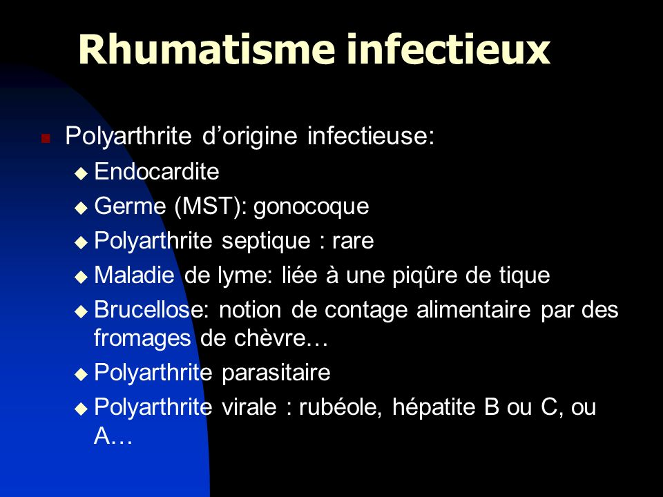 Rhumatisme infectieux