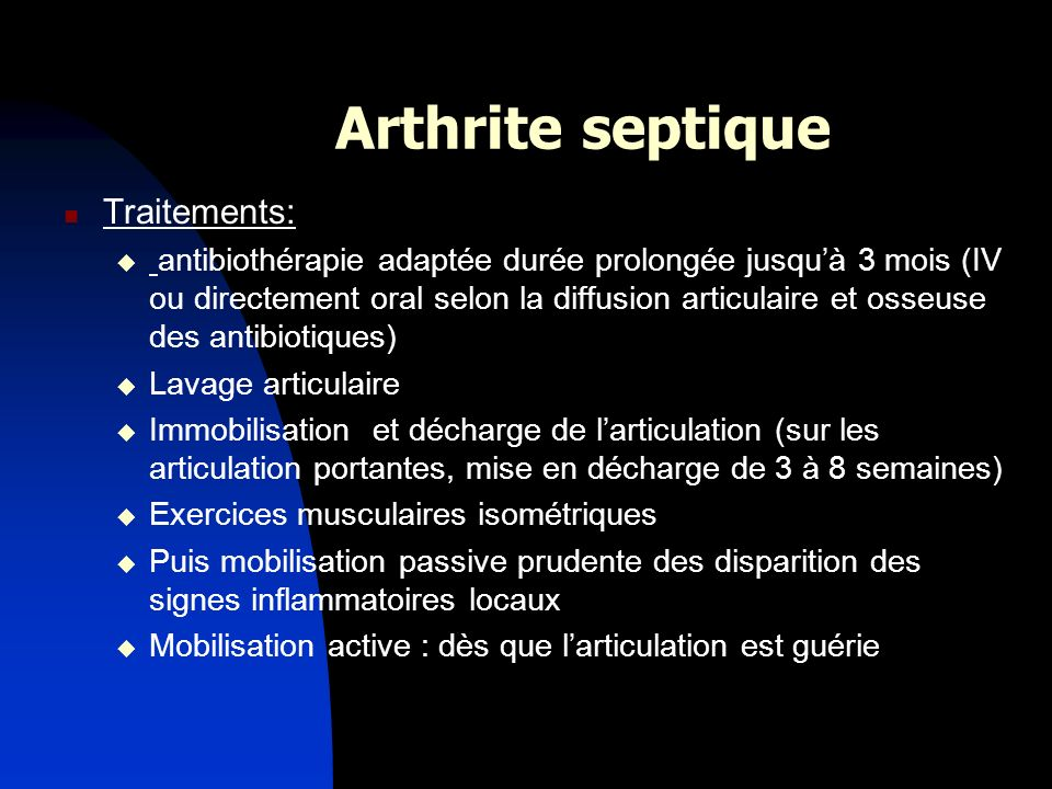 Arthrite septique Traitements: