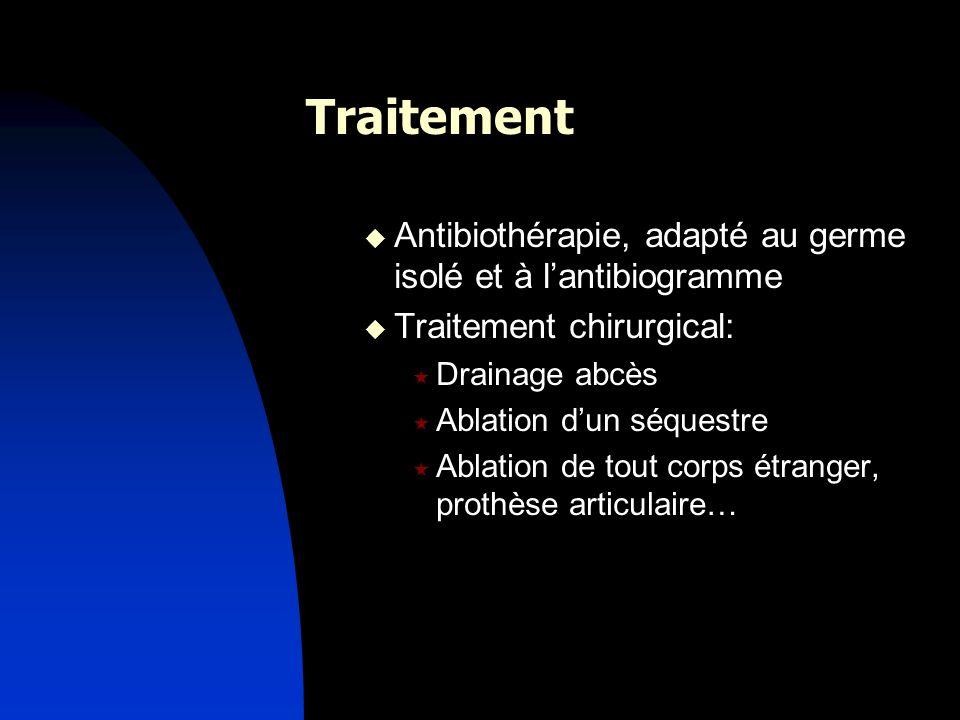Traitement Antibiothérapie, adapté au germe isolé et à l'antibiogramme