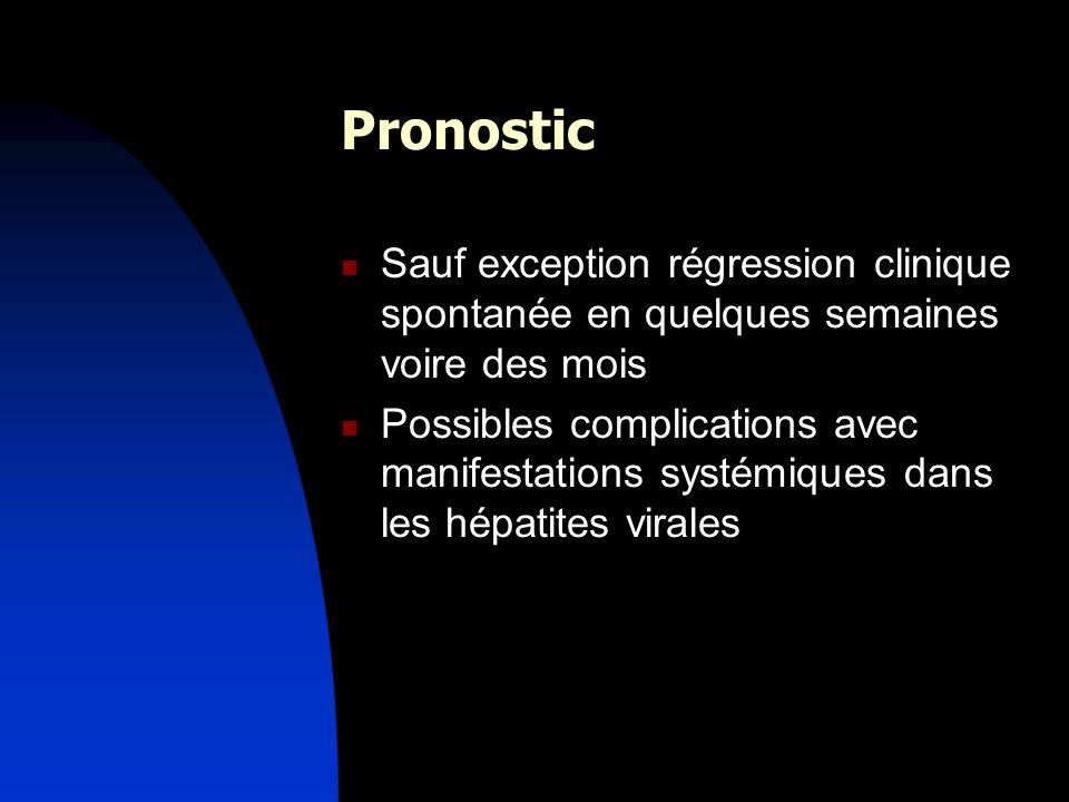 Pronostic Sauf exception régression clinique spontanée en quelques semaines voire des mois.