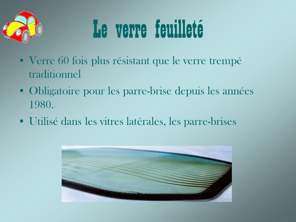 Le verre feuilleté Verre 60 fois plus résistant que le verre trempé traditionnel. Obligatoire pour les parre-brise depuis les années 1980.