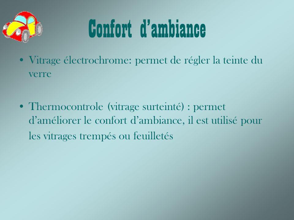 Confort d'ambiance Vitrage électrochrome: permet de régler la teinte du verre.